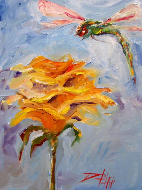 Art: Yellow Rose and Dragonfly by Artist Delilah Smith