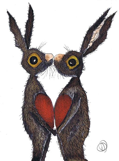 Art: OUR HEARTS FIT h2317 hare by Artist Dawn Barker