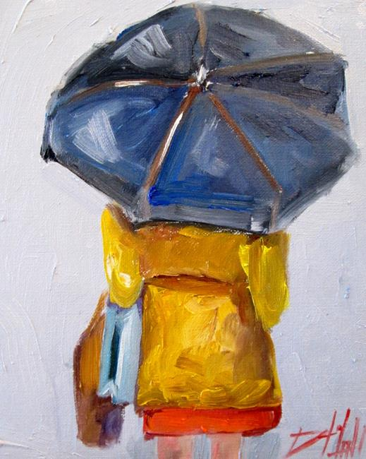 Art: Umbrella and Rain by Artist Delilah Smith