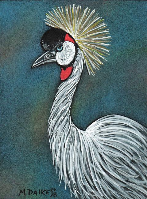 Art: Grey Crowned Crane by Artist Melinda Dalke