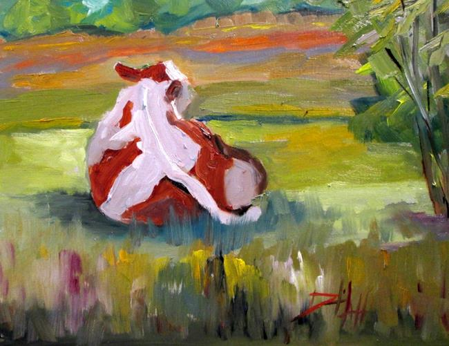Art: Cow in the Field by Artist Delilah Smith