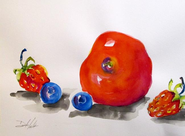 Art: Apple, Strawberries,and Blueberries by Artist Delilah Smith