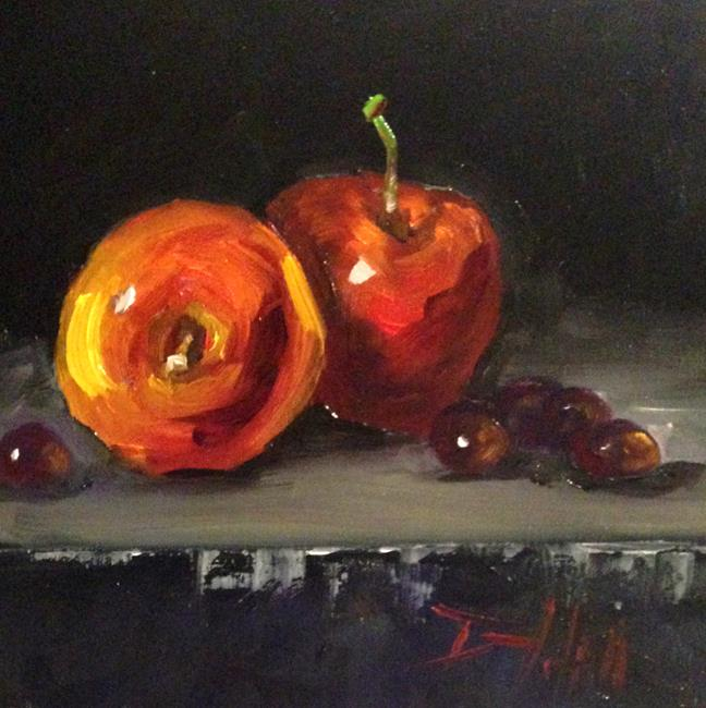 Art: Apples and Grapes,Fruit Still Life by Artist Delilah Smith