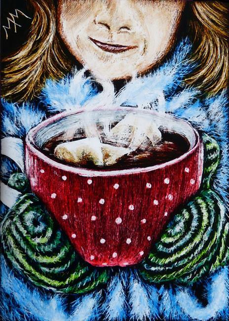 Art: A Warm Winter Drink  (SOLD) by Artist Monique Morin Matson