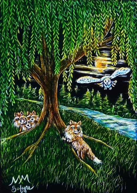 Art: Evenings Under Willow  (SOLD) by Artist Monique Morin Matson