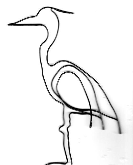 Art: Great Blue Heron wire sculpture by Leonard G. Collins by Artist Leonard G. Collins