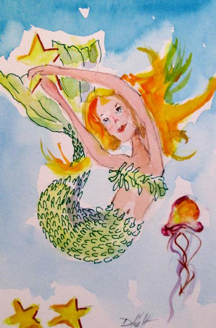 Art: Mermaid Catching Starfish by Artist Delilah Smith