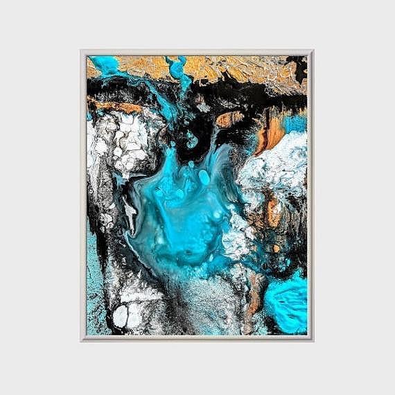 Art: Turquoise Sonata (sold) by Artist Amber Elizabeth Lamoreaux