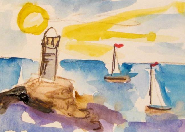 Art: Lighthouse and Sailboats-sold by Artist Delilah Smith