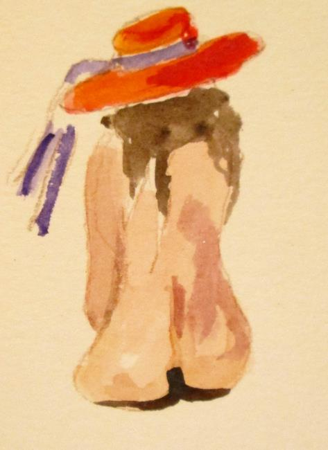 Art: Nude in Red Hat by Artist Delilah Smith