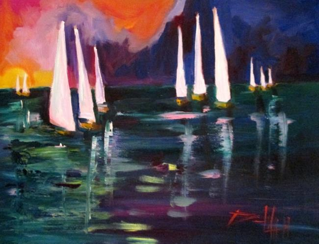 Art: Midnight Sailboats by Artist Delilah Smith