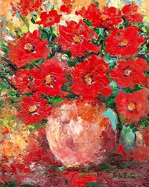Art: Poppy Bouquet - sold by Artist Ulrike 'Ricky' Martin