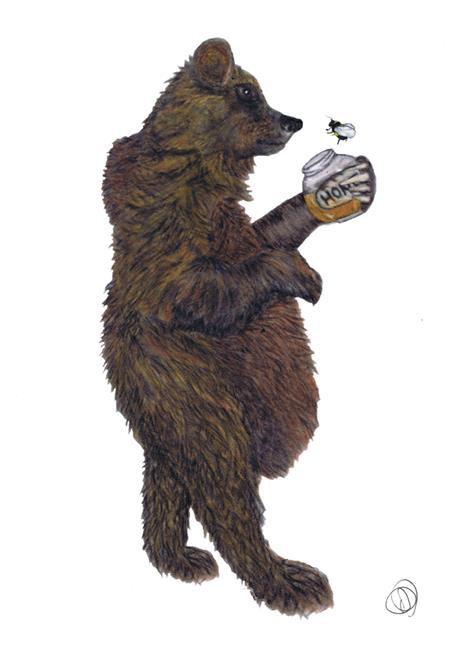 Art: BEAR WITH HONEY br109 by Artist Dawn Barker