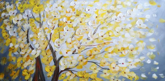 Art: Yellow Gray Blossom by Artist LUIZA VIZOLI