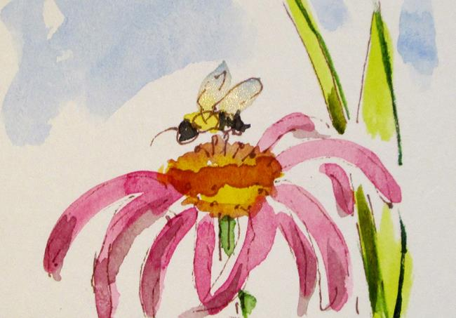 Art: Pink Flower and Bee by Artist Delilah Smith