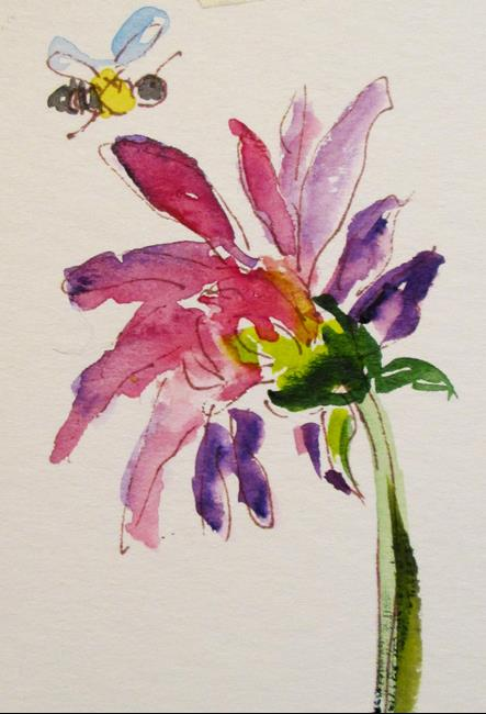 Art: Little Bee and Flower by Artist Delilah Smith