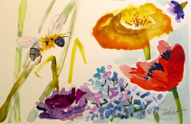 Art: Flower Garden Bee by Artist Delilah Smith