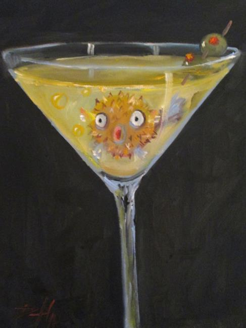 Art: Puffer Fish Martini by Artist Delilah Smith