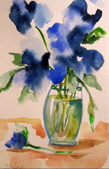 Art: Vase of Blue Flowers by Artist Delilah Smith