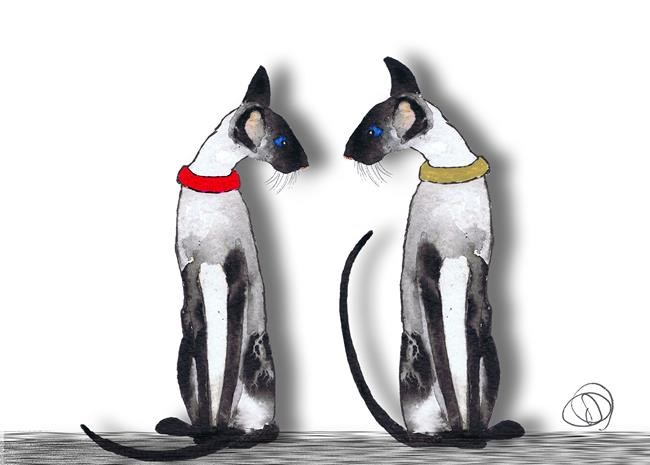 Art: US TWO c325 siamese cat by Artist Dawn Barker