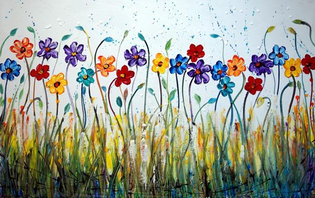 Art: DAISY DANCING FLOWERS by Artist LUIZA VIZOLI
