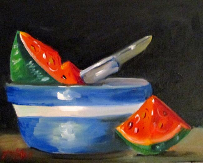 Art: watermelon in a Bowl by Artist Delilah Smith