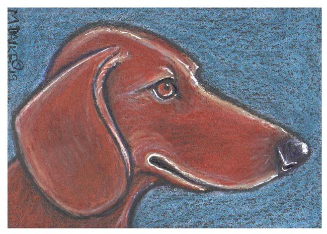 Art: Aceo Dog Profile 2 by Artist Melinda Dalke