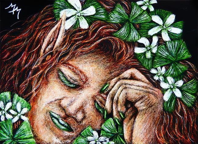 Art: Leprechaun Lass  (SOLD) by Artist Monique Morin Matson