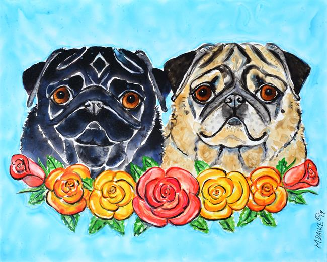 Art: Black & Fawn with Roses by Artist Melinda Dalke