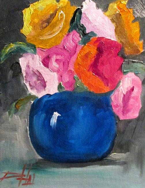 Art: Blue Vase and Flowers No. 2 by Artist Delilah Smith