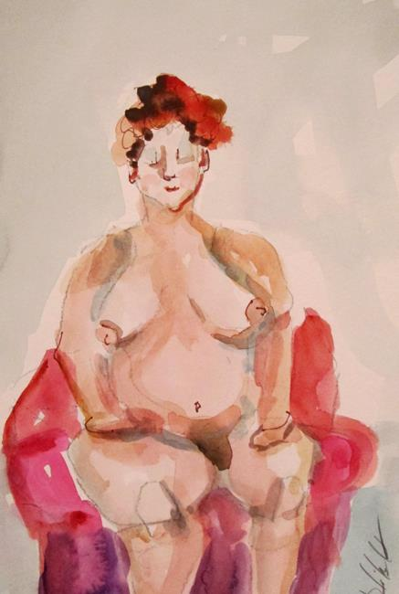 Art: Nude in a Chair by Artist Delilah Smith