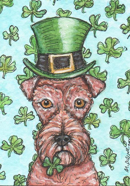 Art: Leprechaun Irish Terrier by Artist Melinda Dalke