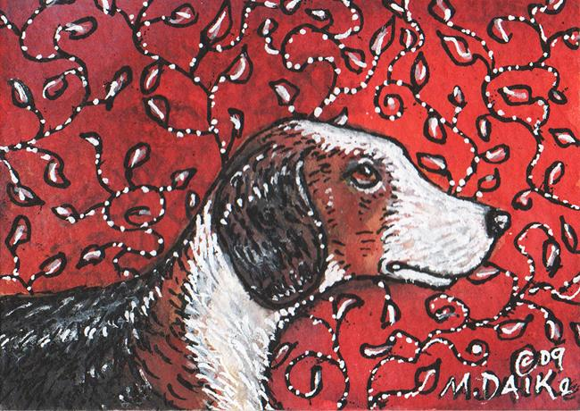 Art: Hound with Vines by Artist Melinda Dalke