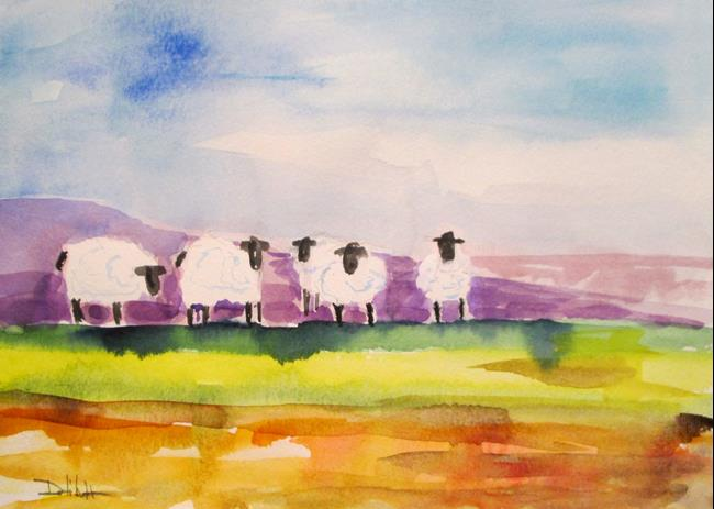Art: Field of Sheep No. 2 by Artist Delilah Smith
