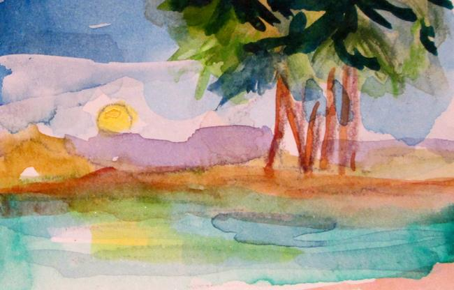 Art: Sunset and Palm Trees by Artist Delilah Smith