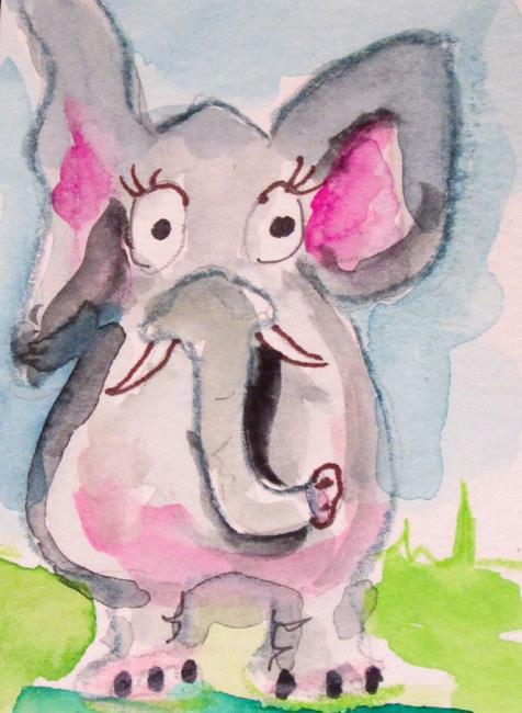 Art: Big Eyed Elephant by Artist Delilah Smith
