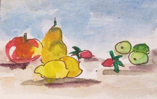 Art: Fruit Still Life aceo by Artist Delilah Smith