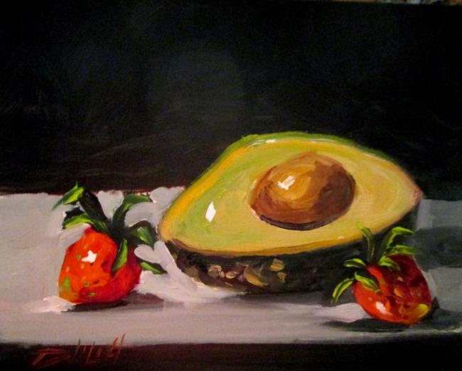 Art: Avocado and Strawberries by Artist Delilah Smith