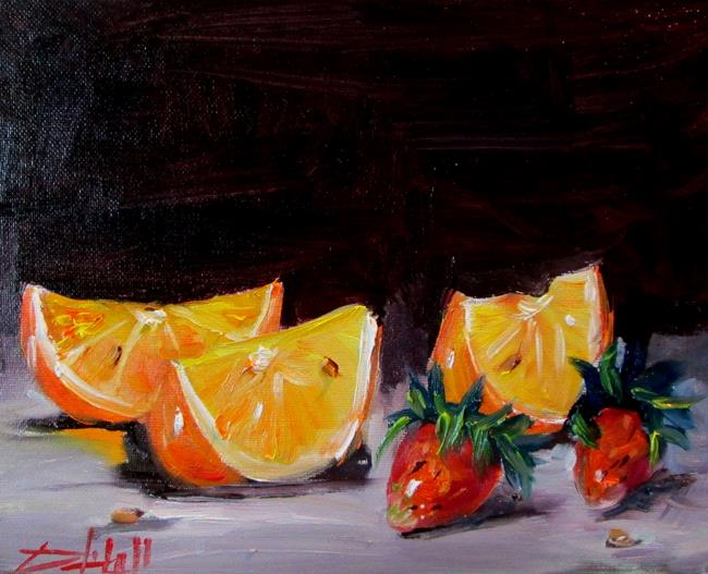 Art: Orange Slices and Strawberries by Artist Delilah Smith