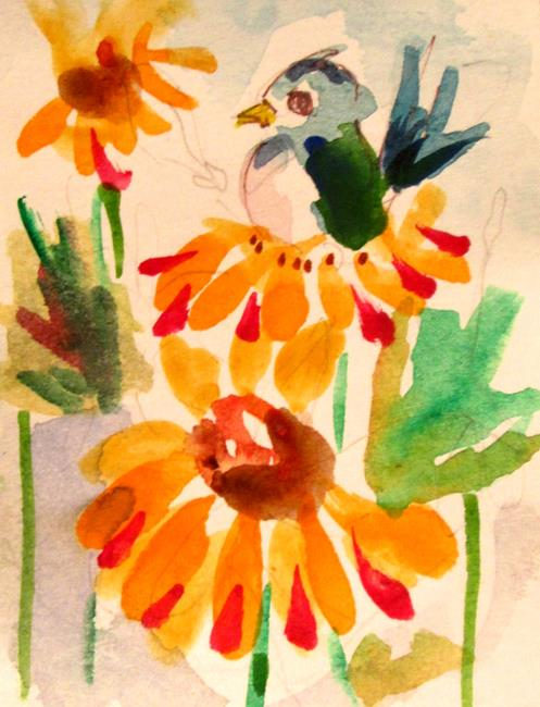 Art: Aceo Bird and Daisies by Artist Delilah Smith