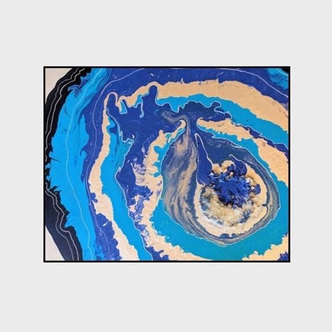 Art: Ocean Geode (sold) by Artist Amber Elizabeth Lamoreaux