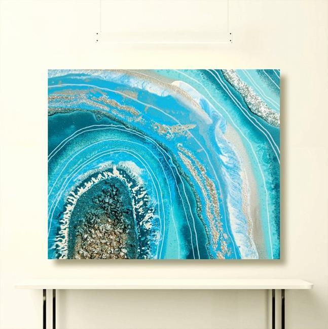 Art: Ocean Geode II (sold) by Artist Amber Elizabeth Lamoreaux