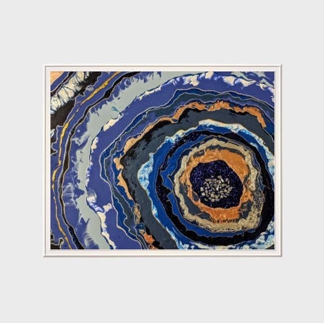 Art: Cobalt Geode (sold) by Artist Amber Elizabeth Lamoreaux