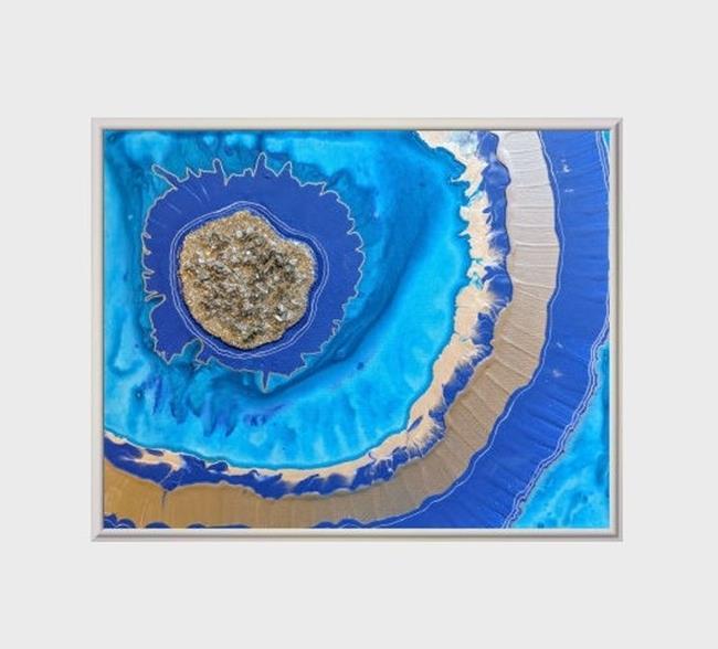 Art: Blue Geode II (sold) by Artist Amber Elizabeth Lamoreaux