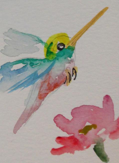 Art: Hummingbird and Flower by Artist Delilah Smith