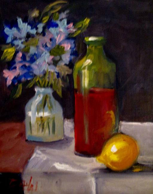 Art: Still Life with Bottle by Artist Delilah Smith