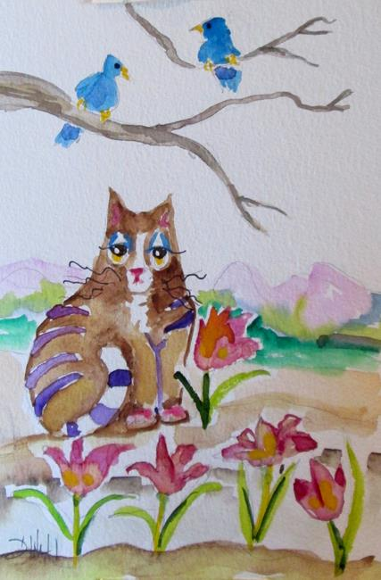 Art: Kitty and Spring Flowers by Artist Delilah Smith