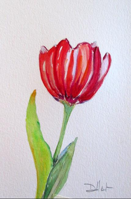 Art: Red Tulip by Artist Delilah Smith