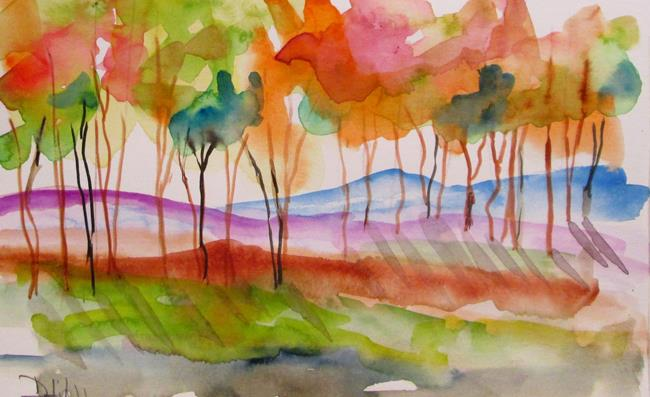 Art: Colorful Tree Line by Artist Delilah Smith