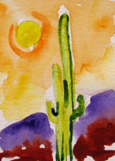 Art: Aceo Desert Sunset by Artist Delilah Smith